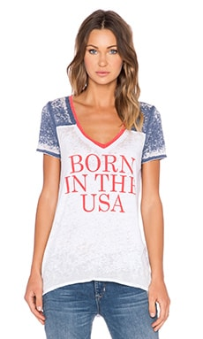 Chaser Born in The USA V Neck Tee in White Blured