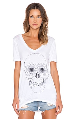 Chaser Daisy Eyes V Neck Tee in White