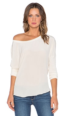 Chaser Drape Back Silk Dolman Top in Vanilla