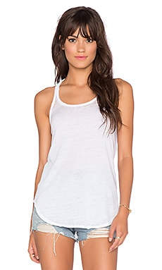 Chaser Open Back Raw Edge Tank in White