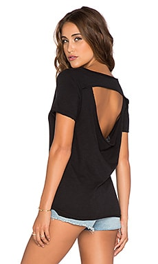 Chaser Short Sleeve Drape Back Tee in Black