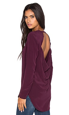 Chaser Drape Back Long Sleeve Tee in Cabernet