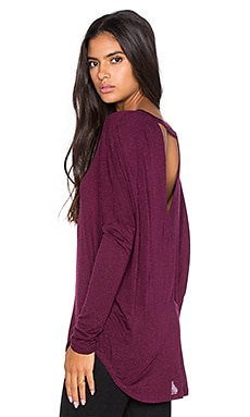 Oversized V Back Dolman Tee in Cabernet