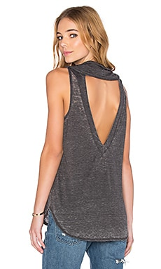 Chaser Open Back Cowl Neck Tank in Vintage Black