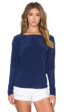 Silk V Back Long Sleeve Dolman Tee in Sapphire