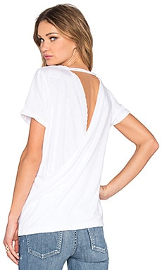 Cross Back Rolled Sleeve Tee in White