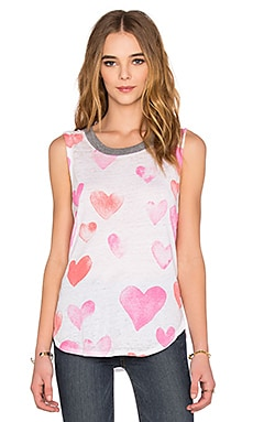 Chaser Watercolor Hearts Tank in White
