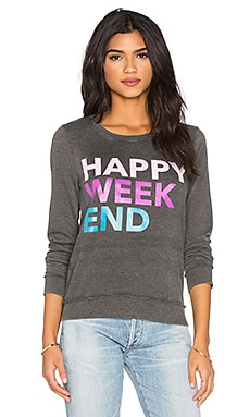 Happy Weekend Long Sleeve Tee en Noir