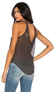 Chaser Silk Drape Back Tank in Black