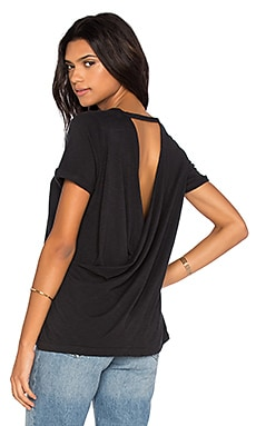 Cross Back Rolled Sleeve Tee in Black
