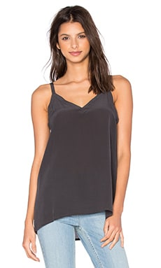 Silk Double Strap V Back Cami in Black