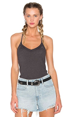 Chaser V Neck Rib Tank in Black