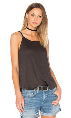 Chaser Scoop Back Flounce Tank in Black