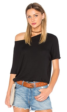 Oversized Drawstring Dolman Tee in Black
