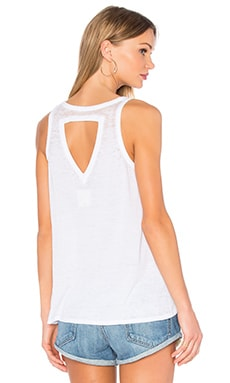 Open Triangle Back Flounce Tank in White