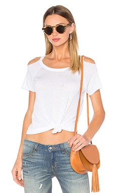 Deconstructed Cold Shoulder Tee in White