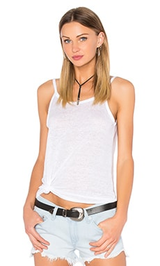Scoop Back Flounce Tank in White