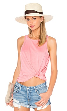 Open Back Flounce Tank in Flamingo