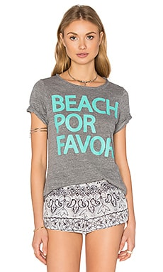 Beach Por Favor Tee en Gris Chiné