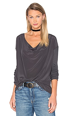 Drape Front Silk Top in Vintage Black
