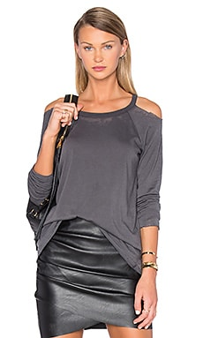 Chaser Unfinished Edge Cold Shoulder Tee in Union Black