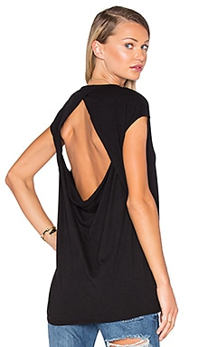 Chaser Drape Back Muscle Tee in Black
