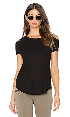 Open Back Cold Shoulder Tee in Black