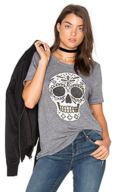 Sugar Skull Tee in Streaky Grey