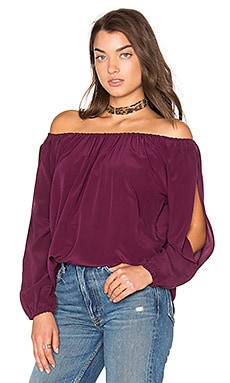 Open Sleeve Shirttail Boho Silk Top in Sangria
