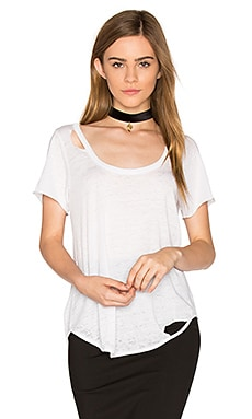 Deconstructed Scoop Tee en Blanc