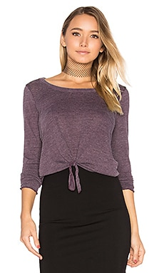 Tie Front Long Sleeve Tee in Sangria