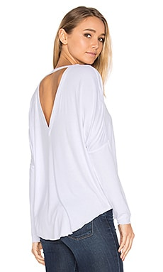 V Back Oversized Shirttail Dolman Tee in White
