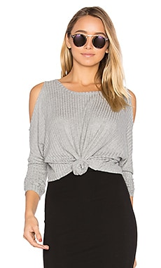 Cold Shoulder Dolman Thermal Tee in Heather Grey