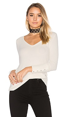 Deep V Button Cuff Thermal Tee in Vanilla