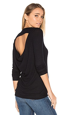 Long Sleeve Drape Back Raglan Thermal in Black