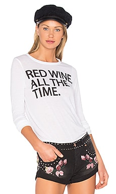 Red Wine Time Long Sleeve Tee in White