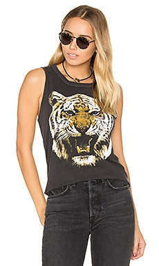 Tiger Head Muscle Tee in Vintage Black