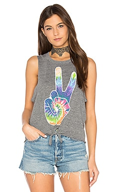 Rainbow Peace Tie Front Muscle Tee in Streaky Grey