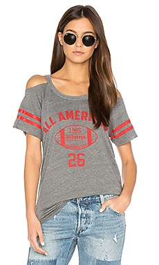 Striped Sleeve Cold Shoulder Tee in Streaky Grey