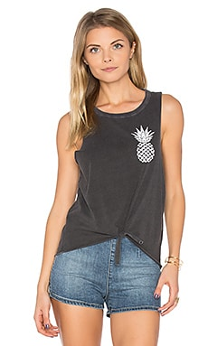 Pineapple Tie Front Muscle Tee in Vintage Black