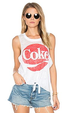 Coke Tie Front Muscle Tee in White