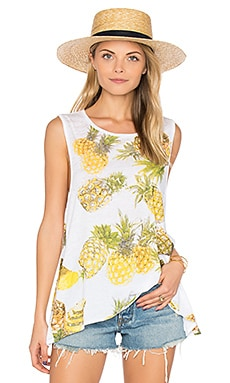 Pineapples Flounce Tank in White