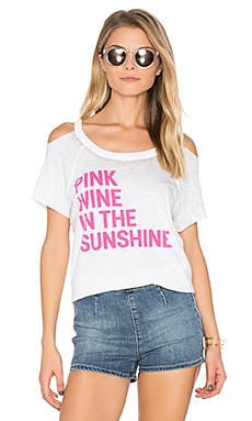 Pink Wine Cold Shoulder Tee in White