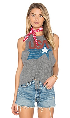 USA Tie Front Muscle Tee in Streaky Grey