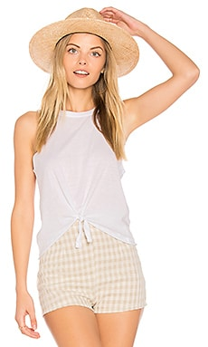 Tie Front Muscle Tee in White