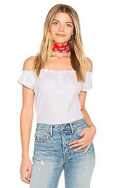 Off Shoulder Shirred Tee in White