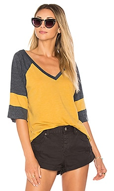 Blocked Jersey V Neck Tee