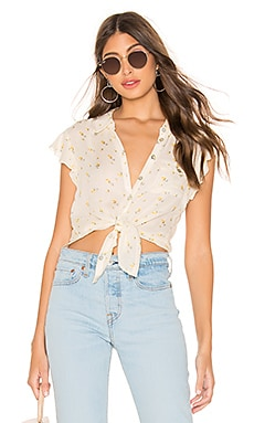 Flutter Sleeve Button Down Shirttail Blouse Chaser $27