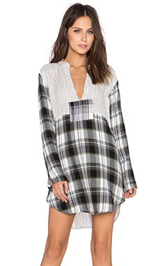 CP SHADES Wyatt Multi Patchwork Tunic in Black Plaid