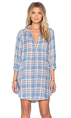 CP SHADES Teton Plaid Tunic Dress in Blue Plaid